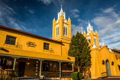 Evening światło na San Felipe Neri kościół w Starym miasteczku, Albuquerq fotografia royalty free