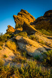 Evening światło na skałach przy Vasquez skał okręgu administracyjnego parkiem w Agua Dul, Obrazy Stock