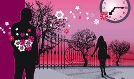 Evening. Young man waiting his beloving girl in evening street Stock Photos
