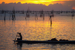 In the evening. Fisherman life in songkhla lagoon Royalty Free Stock Photography