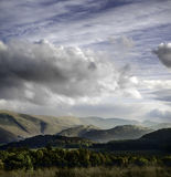 Evening. Sky on the southern, upper, part of the Ullswater valley, Lake district, NW England stock photo