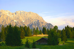 Evening. A sunset at the bavarian alps, Tennsee, Germany stock photography