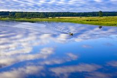 Evening above river. Tigoda. Russia. Stock Photos