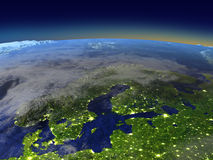Evening above Scandinavian Peninsula from space Stock Photos