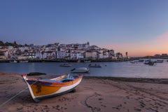 Evening above the village of fishermen, Ferragudo. Royalty Free Stock Photography