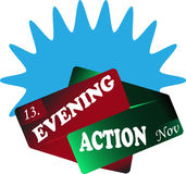 Evening action sign blue Royalty Free Stock Photos