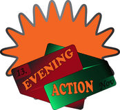 Evening action sign orange Stock Image