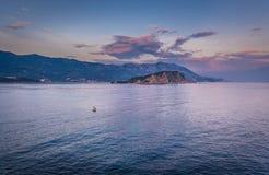 Island in Budva. Evening aerial view of Adriatic Sea with Island of Saint Nicholas in Budva, Montenegro Stock Photo