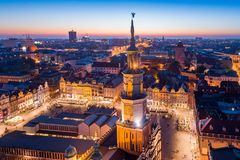 Evening aerial view on Poznan main square and old town. royalty free stock photo