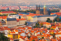 Evening aerial view of Prague Castle complex in Czech Republic Royalty Free Stock Photography