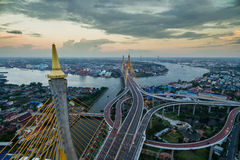 Evening aerial view suspension bridge Bangkok city Stock Photography