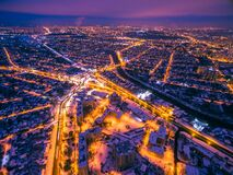 Free Evening Aerial View To Residential Area In Kharkiv With Snow Royalty Free Stock Photography - 202856497