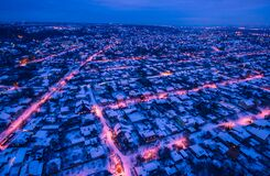 Free Evening Aerial View To Residential Area In Kharkiv With Snow Stock Photo - 202856500