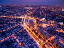 Free Evening Aerial View To Residential Area In Kharkiv With Snow Royalty Free Stock Images - 202865449