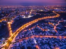 Free Evening Aerial View To Residential Area In Kharkiv With Snow Stock Photo - 202865470