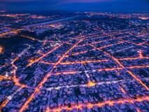Free Evening Aerial View To Residential Area In Kharkiv With Snow Royalty Free Stock Image - 202865476