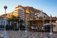 Evening in Alicante, Spain with Castle and Royalty Free Stock Image