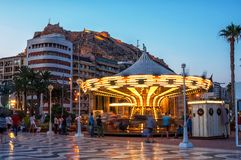 Evening in Alicante, Spain with Castle Stock Photography