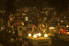 The evening before All Saints Day on Rakowicki Cemetery. Stock Photo