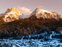 Evening in the alpine village Royalty Free Stock Image
