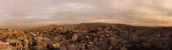 Evening in Amman. Jordan, Amman. Panoramic view of Roman Amphitheatre and Djebel-l-Qal`a area from Citadel Stock Images