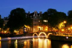 Evening Amsterdam. View on canal in Amsterdam at evening Stock Image