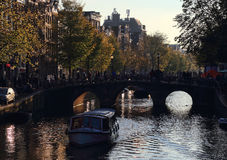 Evening in Amsterdam, Holland Stock Photos