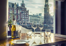 Evening Amsterdam from restaurant Stock Photography