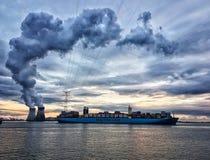 Evening in Antwerp. A beautifull evening in the port of Antwerp Stock Photos