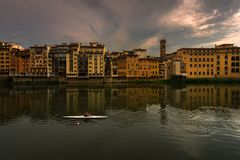 Evening on the Arno River in Florence. City embankments. Italy. Evening on the Arno River in Florence. City embankments.The nature of Tuscany of Italy stock photos
