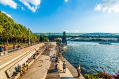 Evening At The Public Beach Of Moscow Gorky Park Royalty Free Stock Image