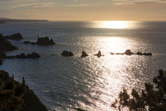 Evening Atlantic ocean coastline, Asturias, Spain. Stock Image