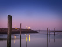 Evening atmosphere at the marina of Bensersiel Royalty Free Stock Photography