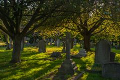 Evening atmosphere in the North Sheen cemetery stock photos
