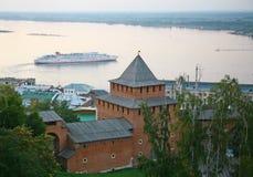 Evening autumn cruise on Volga river in Nizhny Novgorod royalty free stock photography