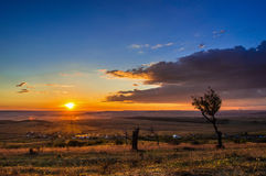 Evening autumn sunset. In Romania's fields Stock Images
