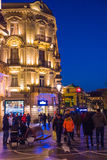 Evening on Baku streets, walking people Royalty Free Stock Image