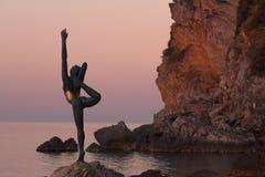 Evening Ballerina Silhouette In Budva Royalty Free Stock Photography