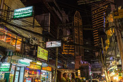 Evening in a Bangkok street Royalty Free Stock Photography