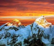 Evening barwionego widok Everest od Kala Patthar Zdjęcia Royalty Free
