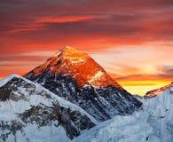Evening barwionego widok góra Everest od Kala Patthar Obraz Stock