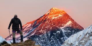 Evening barwionego widok góra Everest z turystą Obraz Stock