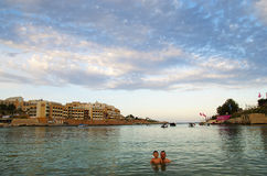 Evening on the beach , Malta Island Royalty Free Stock Image