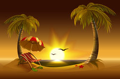 Evening beach. Sea, sun, palm trees and sand. Romantic summer vacation vector illustration