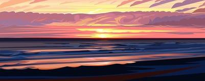 Free Evening Beach Sunset, Sunrise In Ocean. Coastal Waves, Pink Clouds. Summer Nature Landscape. Seaside View Horizon. Cartoon Flat St Stock Photos - 188645793