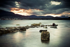 Evening beach Tasmania. Beautiful sunset at Bellerive beach near Hobart, Tasmania Stock Image