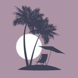 Evening beach in tropics. Royalty Free Stock Image