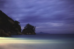 Evening on the beach. Evening view of the ocean from a tropical island Royalty Free Stock Photo