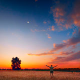 Evening beholder. Human in a wheat field enjoy bright colorful sunset Stock Image