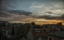 Evening in Belgrade. View of Belgrade rooftops during sunset Royalty Free Stock Photo